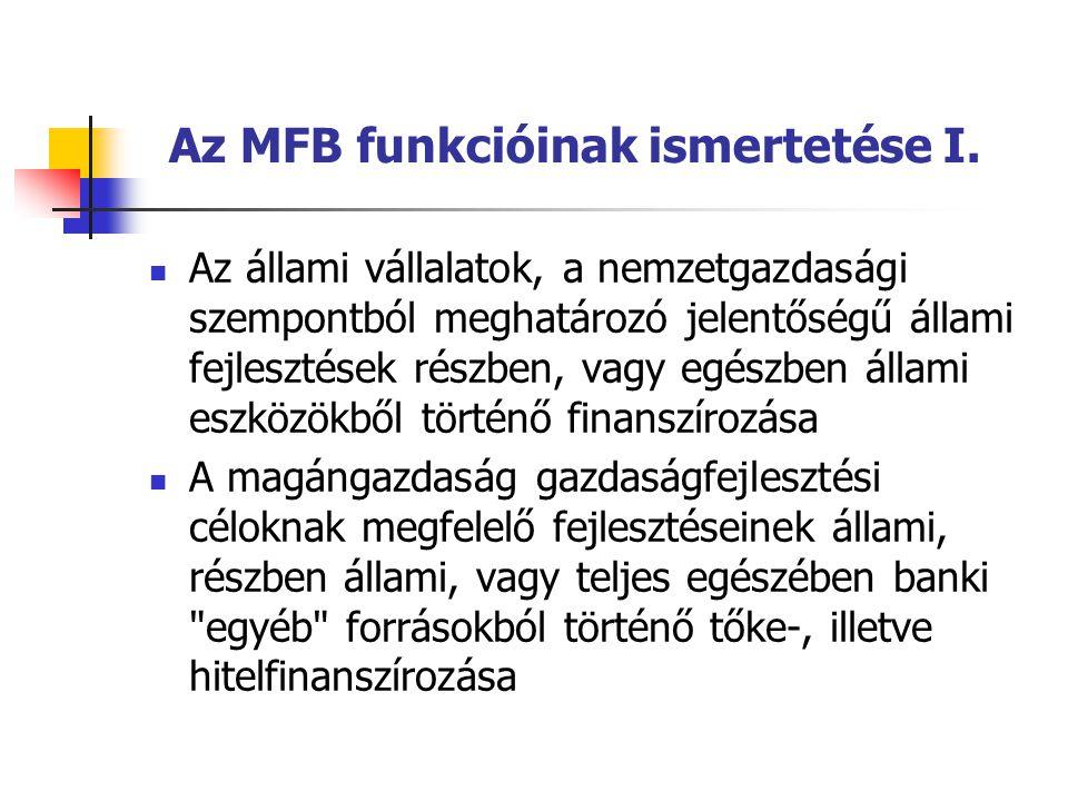 Az MFB funkcióinak ismertetése I. Az állami vállalatok, a nemzetgazdasági szempontból meghatározó jelentőségű állami fejlesztések részben, vagy egészb