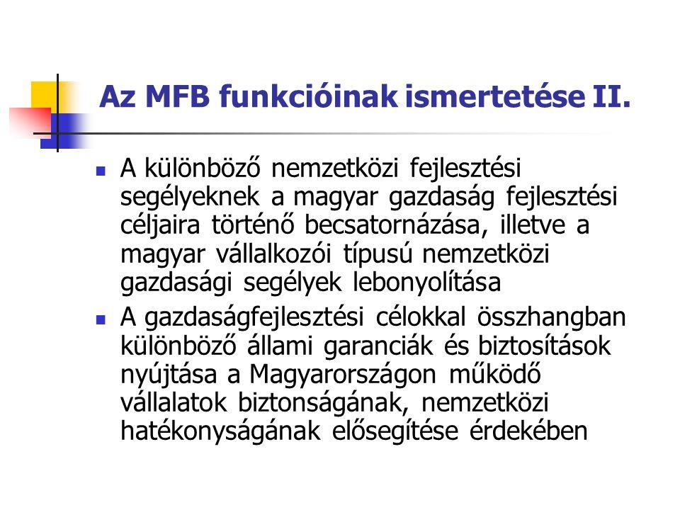Az MFB funkcióinak ismertetése II. A különböző nemzetközi fejlesztési segélyeknek a magyar gazdaság fejlesztési céljaira történő becsatornázása, illet