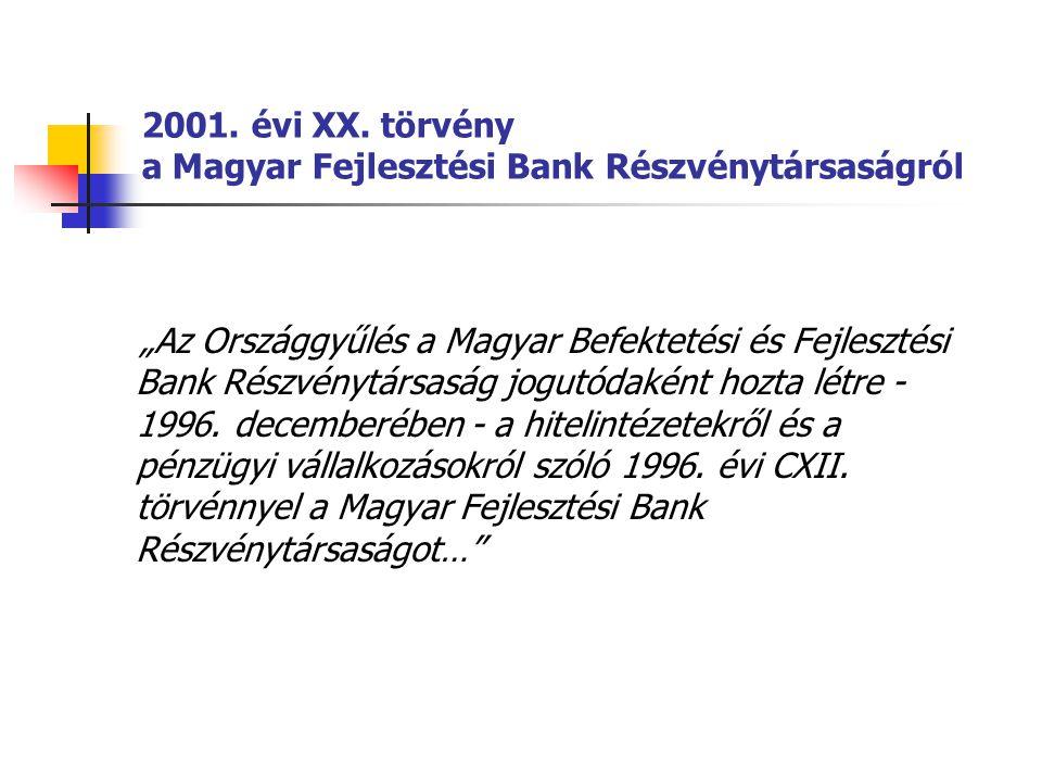 """2001. évi XX. törvény a Magyar Fejlesztési Bank Részvénytársaságról """"Az Országgyűlés a Magyar Befektetési és Fejlesztési Bank Részvénytársaság jogutód"""