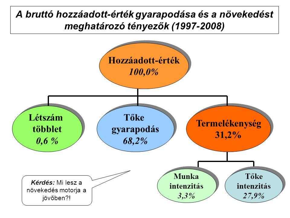 A bruttó hozzáadott-érték gyarapodása és a növekedést meghatározó tényezők (1997-2008) Hozzáadott-érték 100,0% Hozzáadott-érték 100,0% Tőke gyarapodás