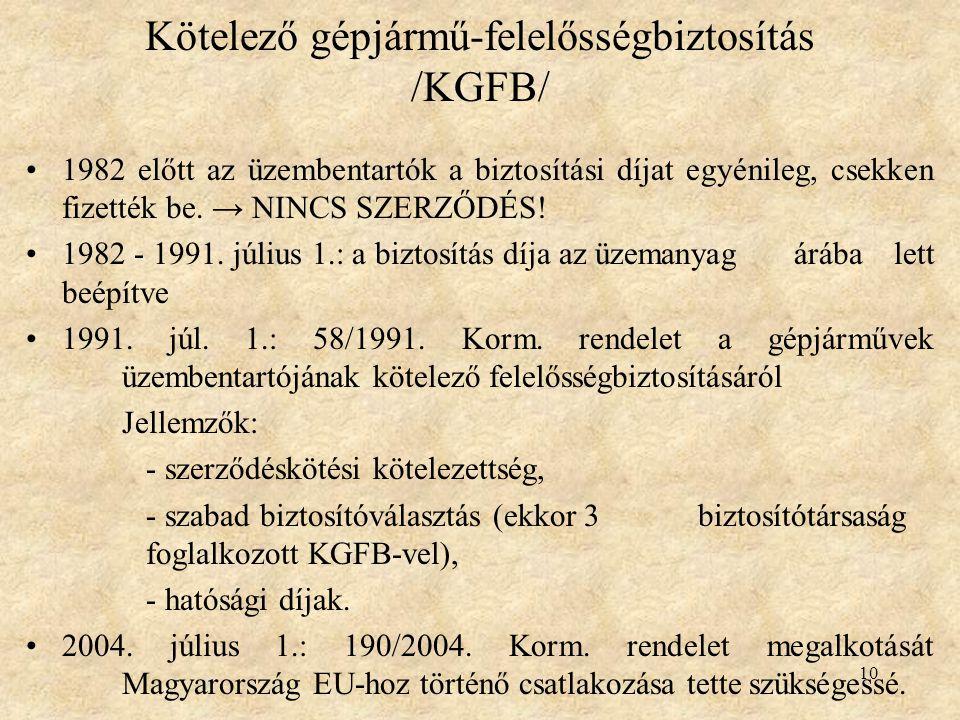 10 Kötelező gépjármű-felelősségbiztosítás /KGFB/ 1982 előtt az üzembentartók a biztosítási díjat egyénileg, csekken fizették be. → NINCS SZERZŐDÉS! 19
