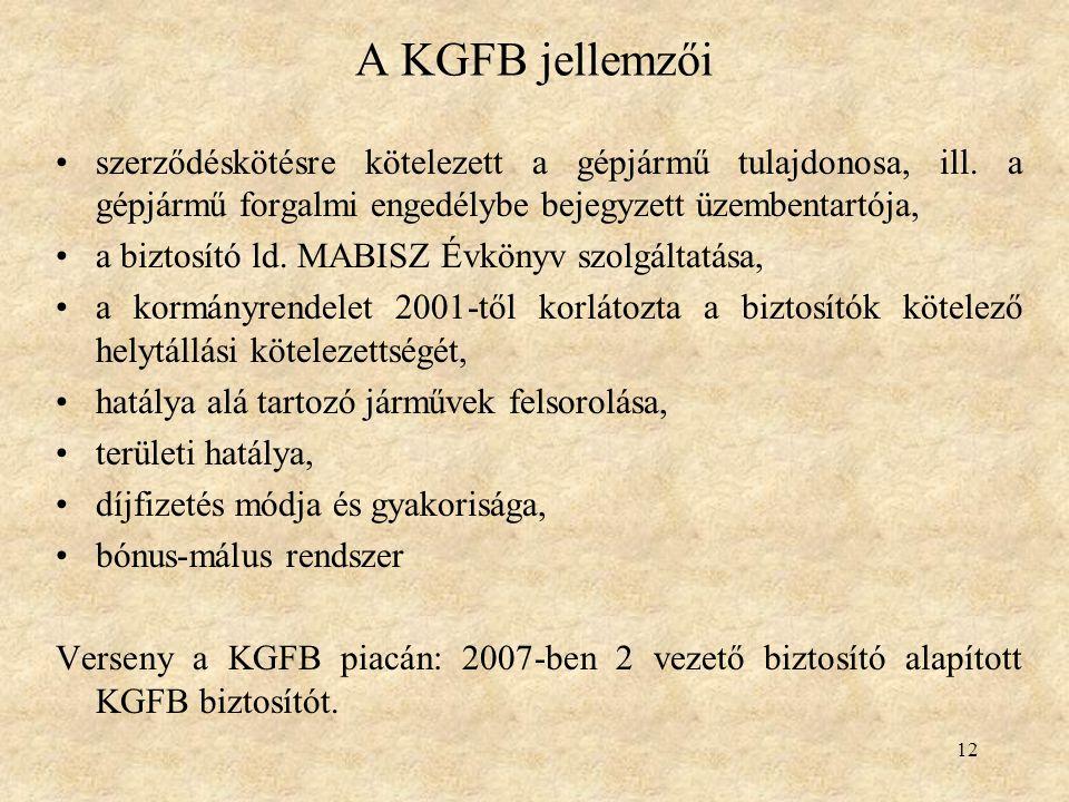 12 A KGFB jellemzői szerződéskötésre kötelezett a gépjármű tulajdonosa, ill. a gépjármű forgalmi engedélybe bejegyzett üzembentartója, a biztosító ld.