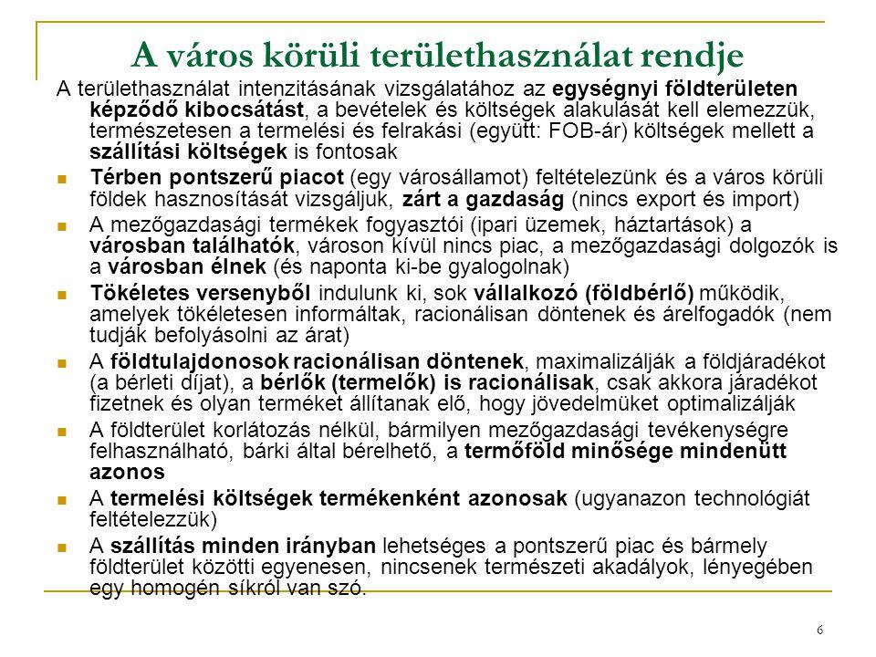 6 A város körüli területhasználat rendje A területhasználat intenzitásának vizsgálatához az egységnyi földterületen képződő kibocsátást, a bevételek é