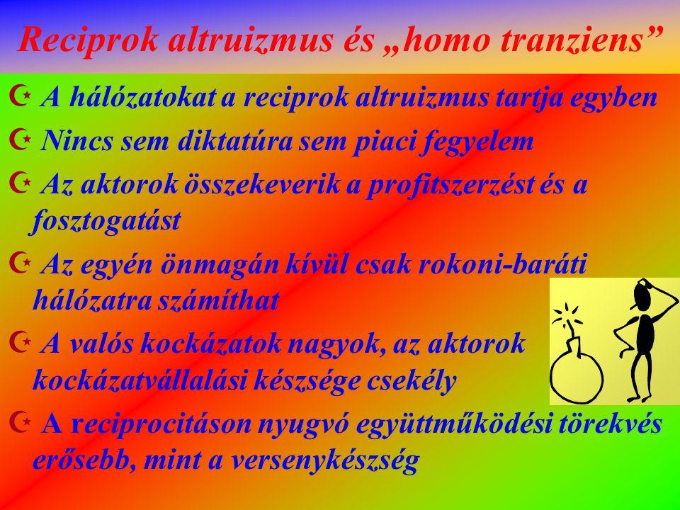 """Reciprok altruizmus és """"homo tranziens""""  A hálózatokat a reciprok altruizmus tartja egyben  Nincs sem diktatúra sem piaci fegyelem  Az aktorok össz"""