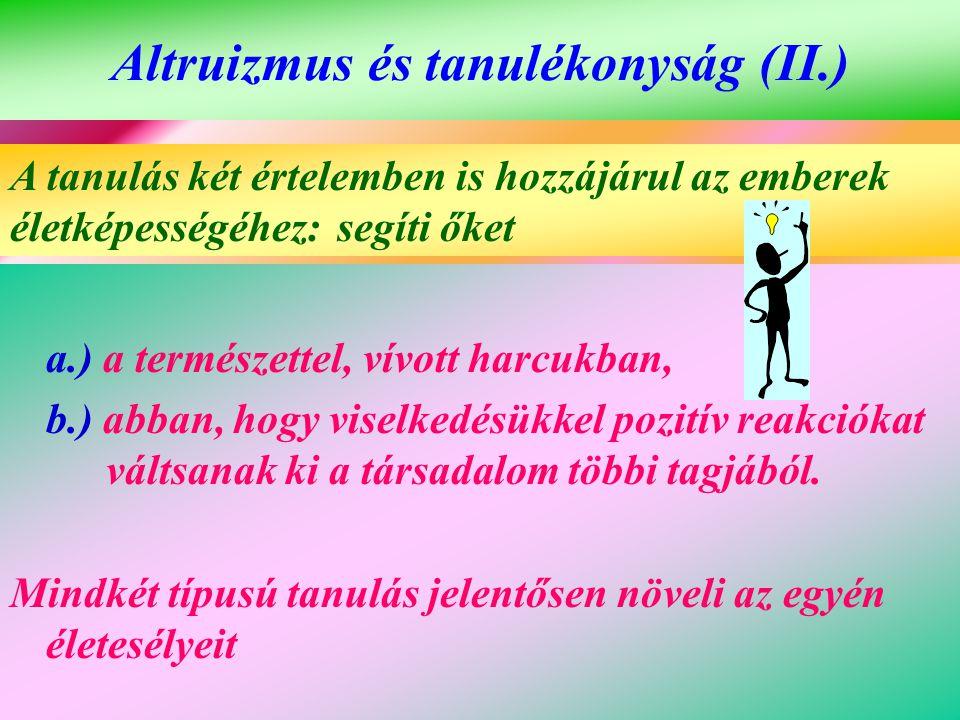 Altruizmus és tanulékonyság (II.) a.) a természettel, vívott harcukban, b.) abban, hogy viselkedésükkel pozitív reakciókat váltsanak ki a társadalom t