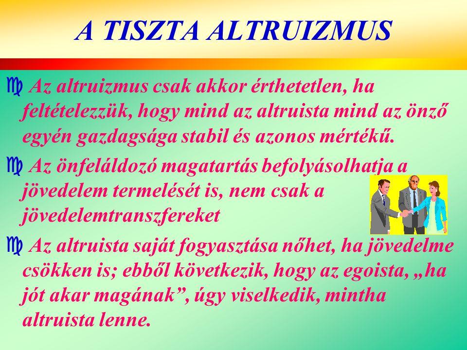 A TISZTA ALTRUIZMUS  Az altruizmus csak akkor érthetetlen, ha feltételezzük, hogy mind az altruista mind az önző egyén gazdagsága stabil és azonos mé