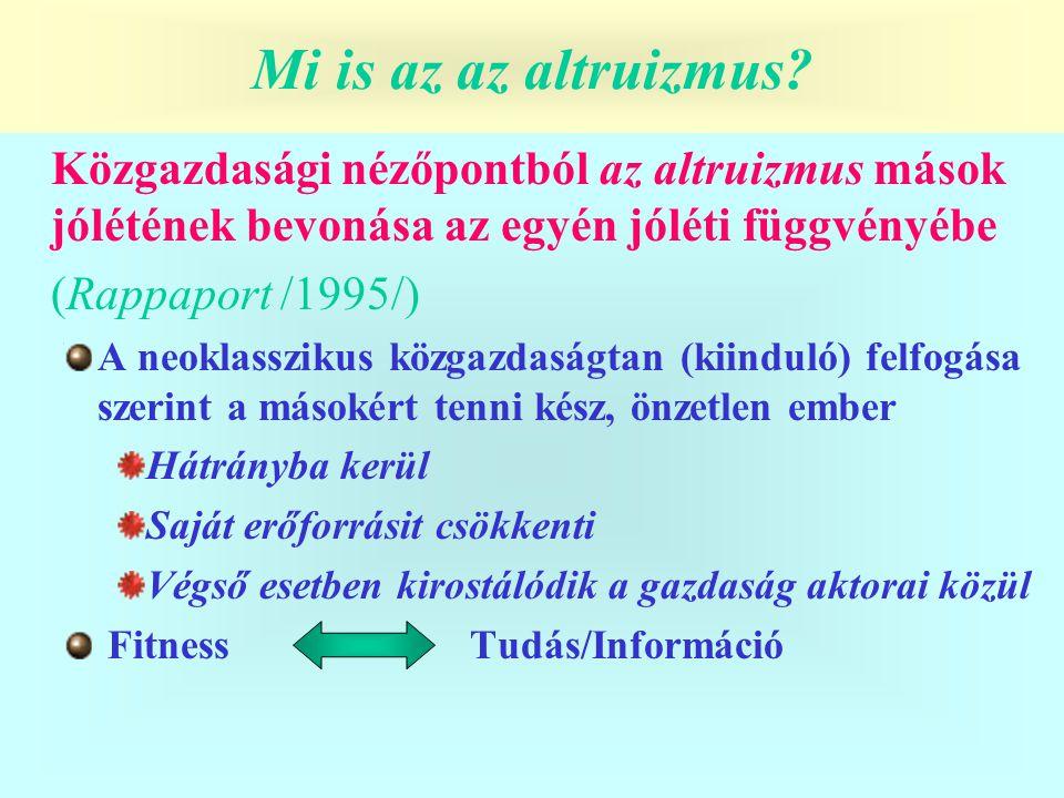 Mi is az altruizmus? Közgazdasági nézőpontból az altruizmus mások jólétének bevonása az egyén jóléti függvényébe (Rappaport /1995/) A neoklasszikus kö