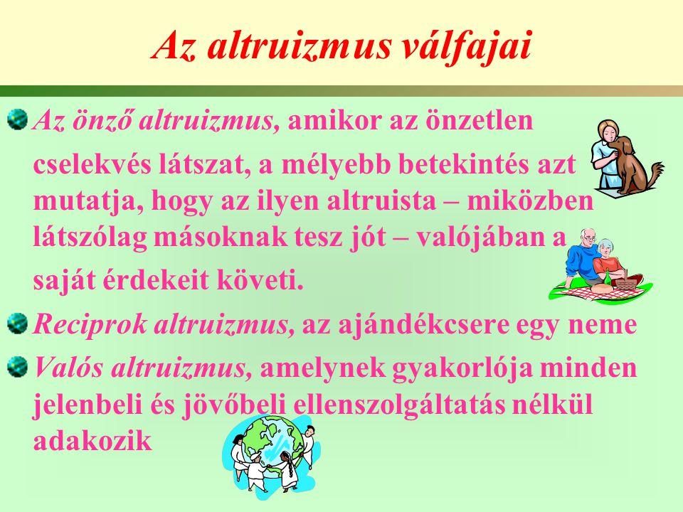 Altruizmus és tanulékonyság (II.) a.) a természettel, vívott harcukban, b.) abban, hogy viselkedésükkel pozitív reakciókat váltsanak ki a társadalom többi tagjából.
