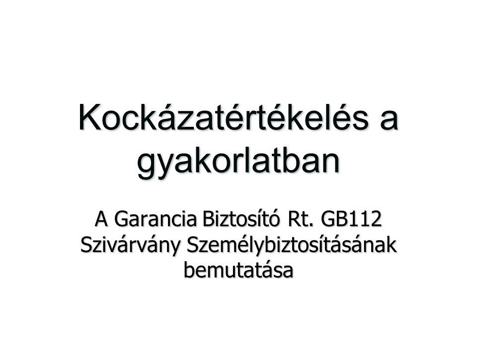 Kockázatértékelés a gyakorlatban A Garancia Biztosító Rt. GB112 Szivárvány Személybiztosításának bemutatása