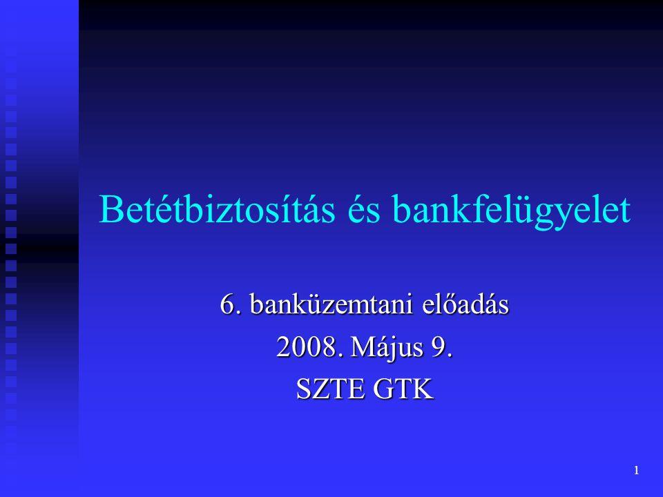 1 Betétbiztosítás és bankfelügyelet 6. banküzemtani előadás 2008. Május 9. SZTE GTK