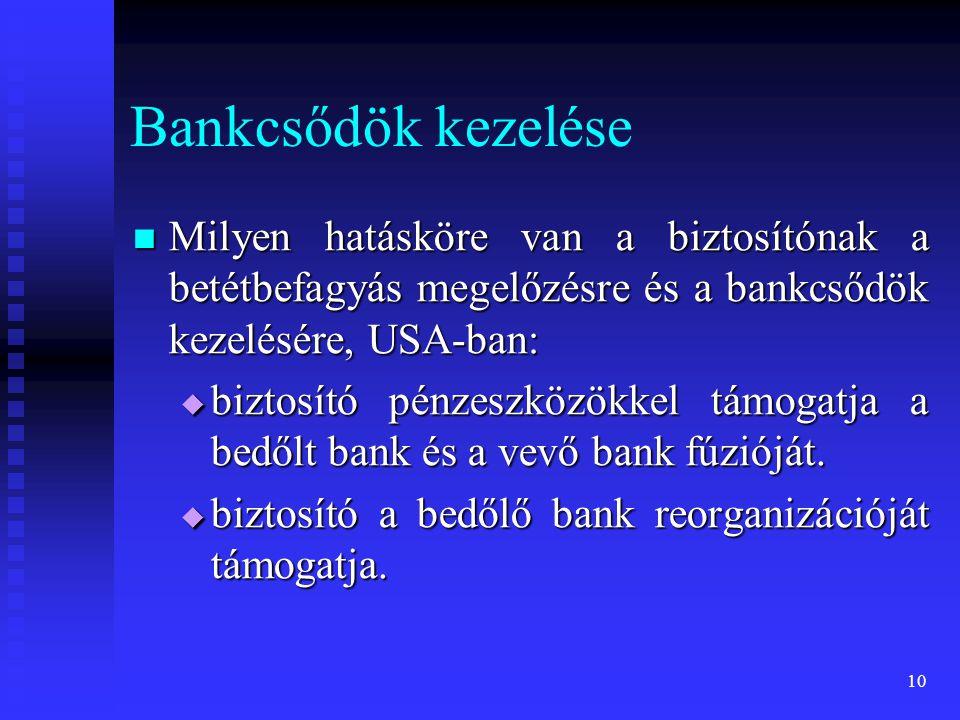 10 Bankcsődök kezelése Milyen hatásköre van a biztosítónak a betétbefagyás megelőzésre és a bankcsődök kezelésére, USA-ban: Milyen hatásköre van a biz