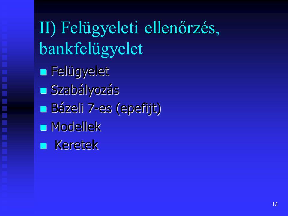 13 ellenőrzés II) Felügyeleti ellenőrzés, bankfelügyelet Felügyelet Felügyelet Szabályozás Szabályozás Bázeli 7-es (epefijt) Bázeli 7-es (epefijt) Mod