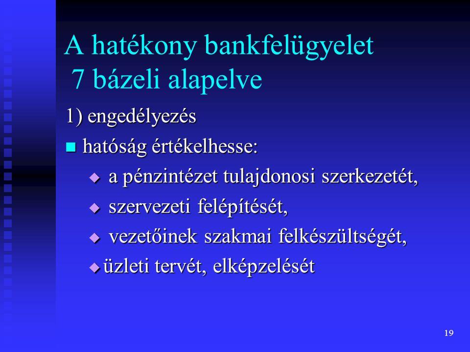 19 A hatékony bankfelügyelet 7 bázeli alapelve 1) engedélyezés hatóság értékelhesse: hatóság értékelhesse:  a pénzintézet tulajdonosi szerkezetét, 