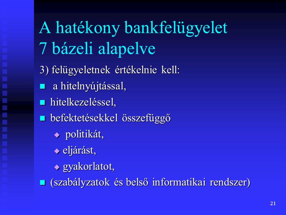 21 A hatékony bankfelügyelet 7 bázeli alapelve 3) felügyeletnek értékelnie kell: a hitelnyújtással, a hitelnyújtással, hitelkezeléssel, hitelkezelésse