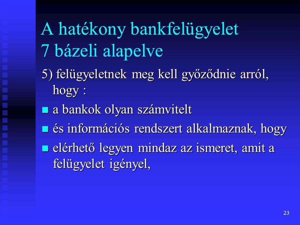 23 A hatékony bankfelügyelet 7 bázeli alapelve 5) felügyeletnek meg kell győződnie arról, hogy : a bankok olyan számvitelt a bankok olyan számvitelt é