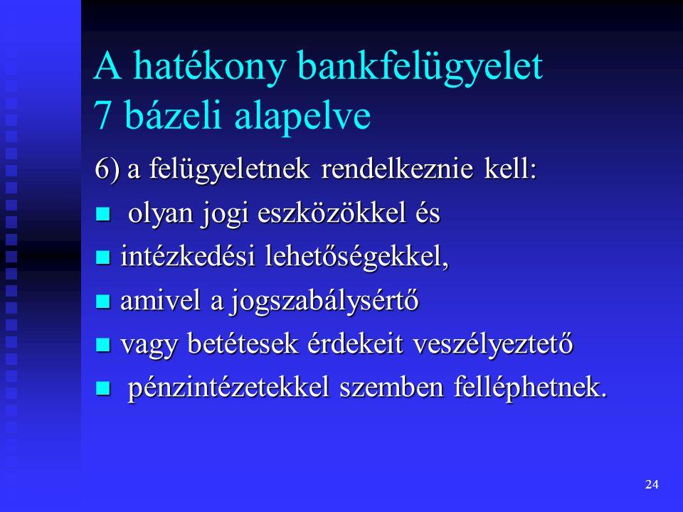 24 A hatékony bankfelügyelet 7 bázeli alapelve 6) a felügyeletnek rendelkeznie kell: olyan jogi eszközökkel és olyan jogi eszközökkel és intézkedési l