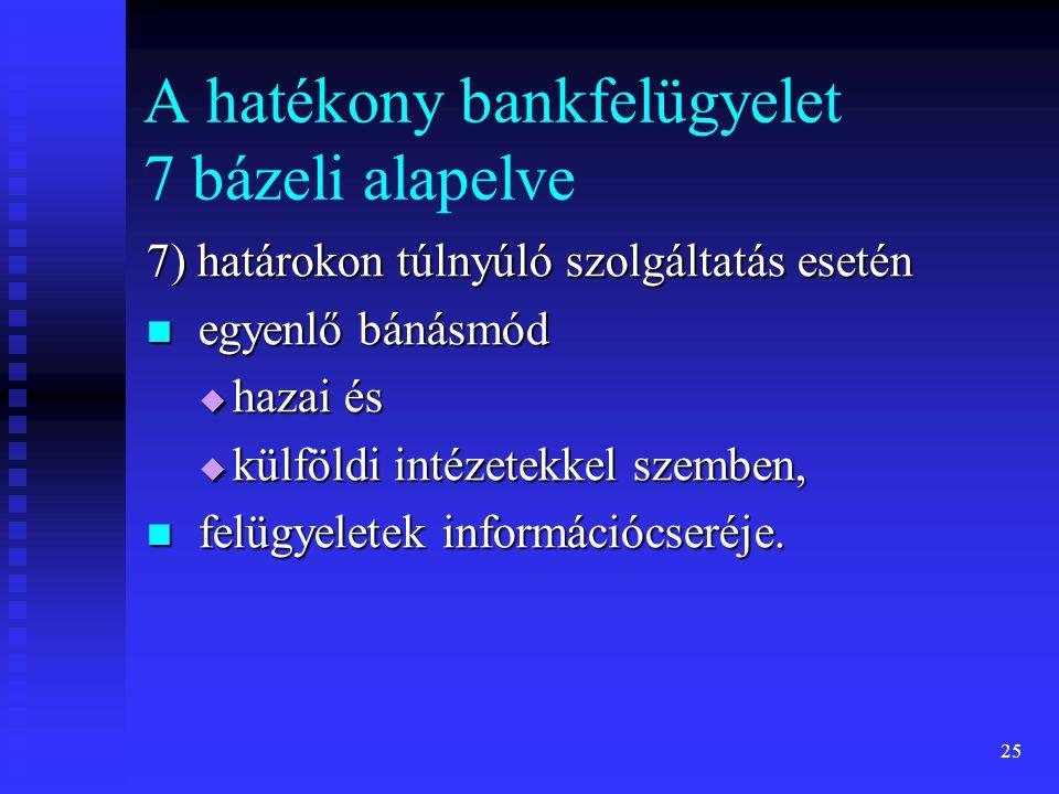 25 A hatékony bankfelügyelet 7 bázeli alapelve 7) határokon túlnyúló szolgáltatás esetén egyenlő bánásmód egyenlő bánásmód  hazai és  külföldi intéz