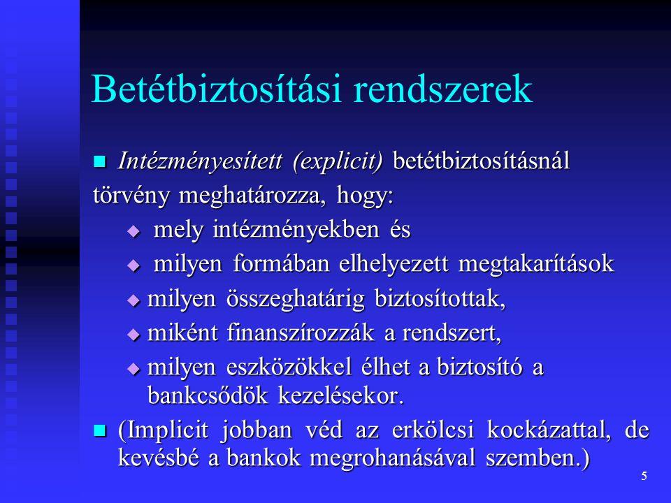 6 Intézményesített betétbiztosítási rendszerek eldöntendő kérdései állami vagy magántulajdon: mindkettőre van példa, a magyar gyakorlat vegyes, állami vagy magántulajdon: mindkettőre van példa, a magyar gyakorlat vegyes,  betétbiztosítási alapot törvény hozta létre,  ami szabályozza működési feltételeit is,  de hitelintézetek finanszírozzák,  ám kártalanítási feladatainak fedezéséhez szükséges hitel felvételét a kormányzat köteles kezességvállalással támogatni.
