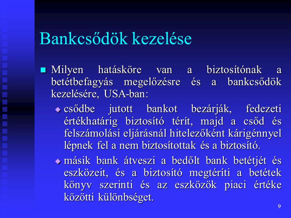 10 Bankcsődök kezelése Milyen hatásköre van a biztosítónak a betétbefagyás megelőzésre és a bankcsődök kezelésére, USA-ban: Milyen hatásköre van a biztosítónak a betétbefagyás megelőzésre és a bankcsődök kezelésére, USA-ban:  biztosító pénzeszközökkel támogatja a bedőlt bank és a vevő bank fúzióját.