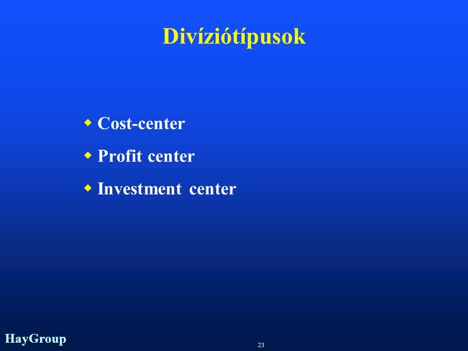 HayGroup 22 Divizionális szervezet TAGOZÓDÁS DIVÍZIÓK SZERINT DIVIZIONÁLIS SZERVEZET  A munkamegosztás tárgyi elvű  Termékek, vevők, régiók szerint