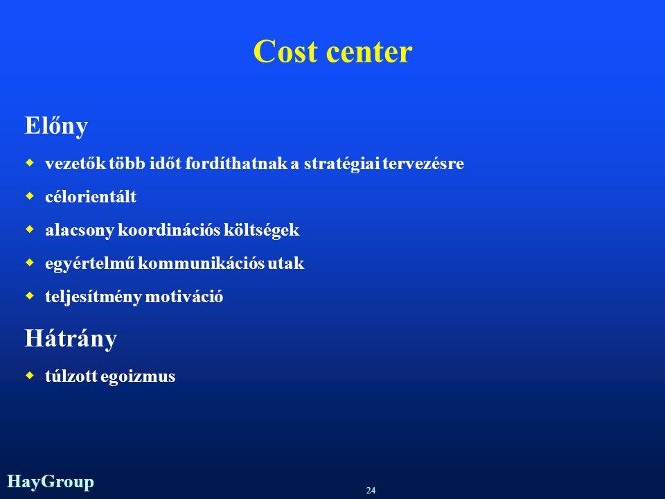 HayGroup 23 Divíziótípusok  Cost-center  Profit center  Investment center