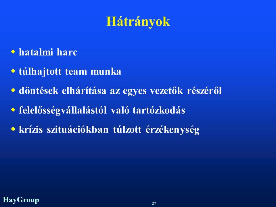 HayGroup 26 Mátrix szervezet Funkcionális és tárgyi elvű munkamegosztás egyszerre (termékorientált, projektorientált)