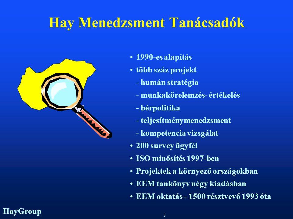 HayGroup 3 1990-es alapítás több száz projekt - humán stratégia - munkakörelemzés- értékelés - bérpolitika - teljesítménymenedzsment - kompetencia vizsgálat 200 survey ügyfél ISO minősítés 1997-ben Projektek a környező országokban EEM tankönyv négy kiadásban EEM oktatás - 1500 résztvevő 1993 óta Hay Menedzsment Tanácsadók