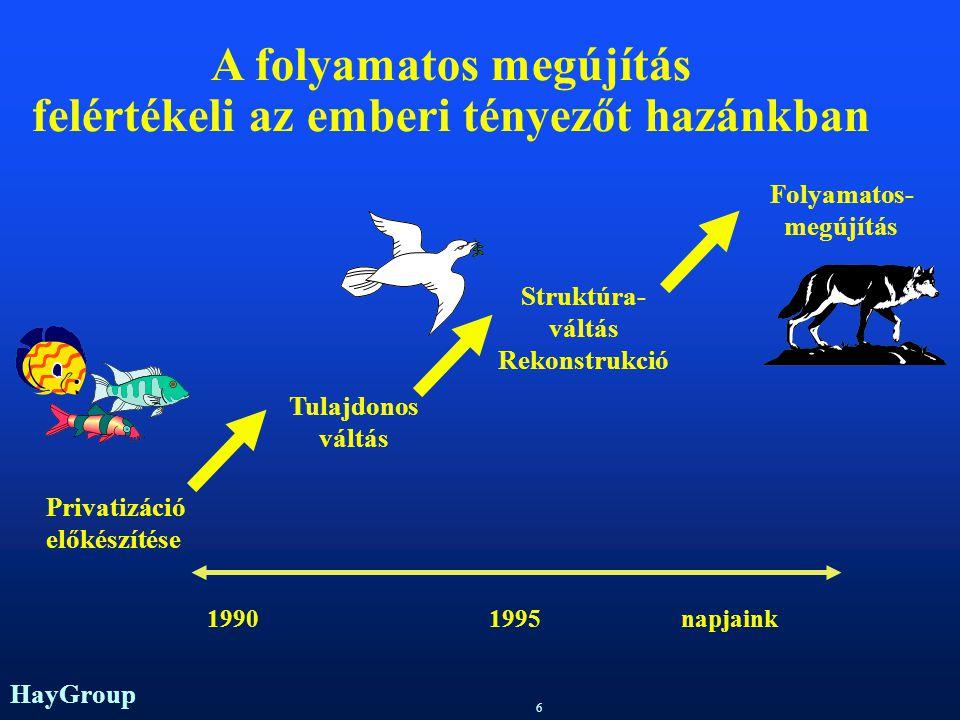 HayGroup 6 Privatizáció előkészítése Tulajdonos váltás Struktúra- váltás Rekonstrukció Folyamatos- megújítás 19901995napjaink A folyamatos megújítás felértékeli az emberi tényezőt hazánkban