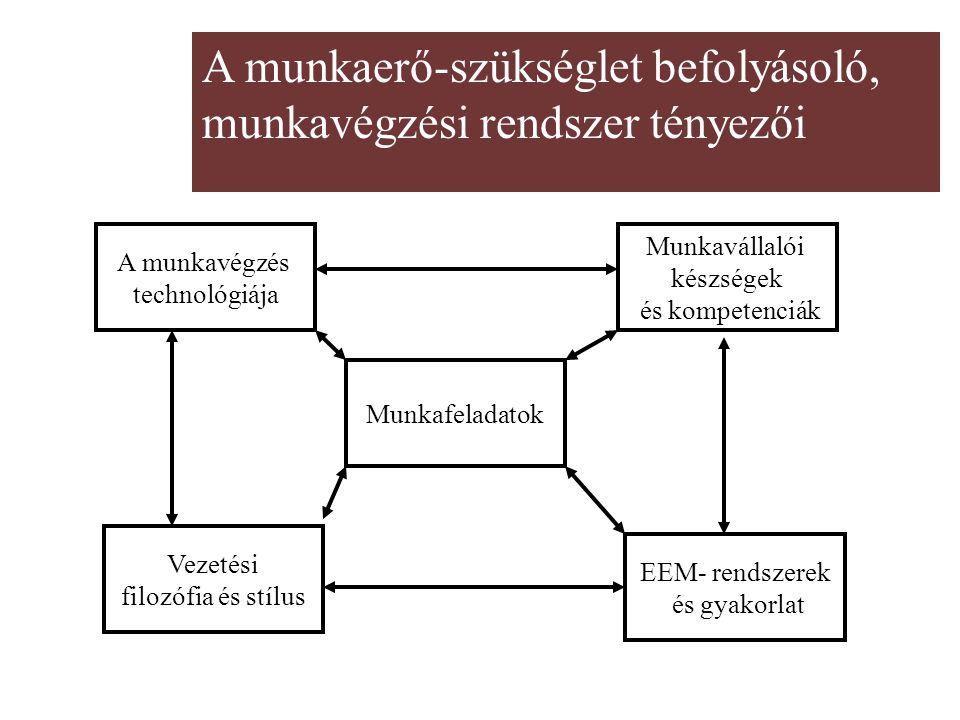 A munkaerő-szükséglet befolyásoló, munkavégzési rendszer tényezői Munkafeladatok A munkavégzés technológiája Munkavállalói készségek és kompetenciák V