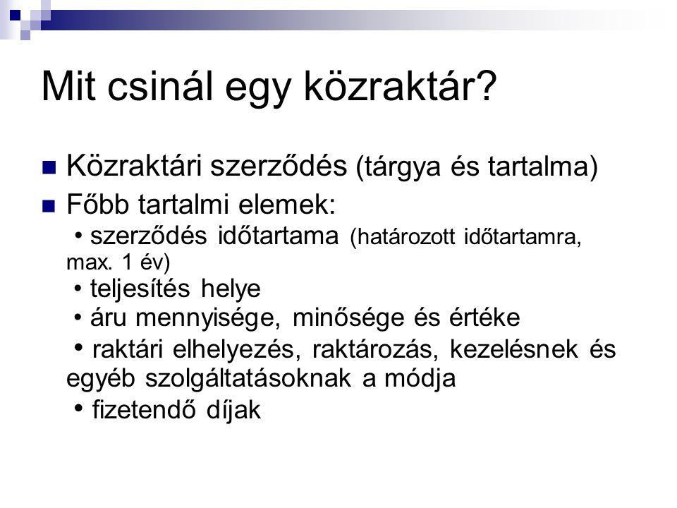 Közraktározási díjak: Forrás:http://kozraktarozas.hungaria.co.hu/dijazas/index.htmlhttp://kozraktarozas.hungaria.co.hu/dijazas/index.html Partner nagysága/telephely; kukorica, búza, árpa,triticale 0-3 hó3-6 hó6-9 hó9-12 hó To/zárásFT/to; de minimum 150 000 FT/zárás 0-2000200245280300 2000-10000200230260270 10000-20000200210220230 20000 felett200 Ipari termékek, konzervek, gyorsfagyasztott élelmiszer, borok, olajosmagvak jegyérték %-a; de minimum 150 000 FT/zárás 100 M Ft jegyértékig11,21,41,5 100-500 MFT jegyérték11,11,21,3 500 MFT jegyérték felett111,11,2