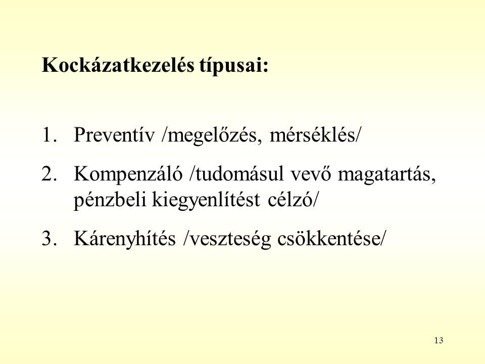 13 Kockázatkezelés típusai: 1.Preventív /megelőzés, mérséklés/ 2.Kompenzáló /tudomásul vevő magatartás, pénzbeli kiegyenlítést célzó/ 3.Kárenyhítés /v