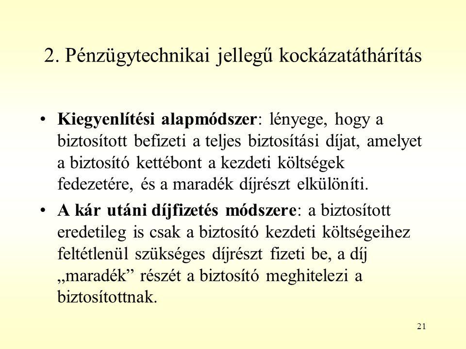 21 2. Pénzügytechnikai jellegű kockázatáthárítás Kiegyenlítési alapmódszer: lényege, hogy a biztosított befizeti a teljes biztosítási díjat, amelyet a