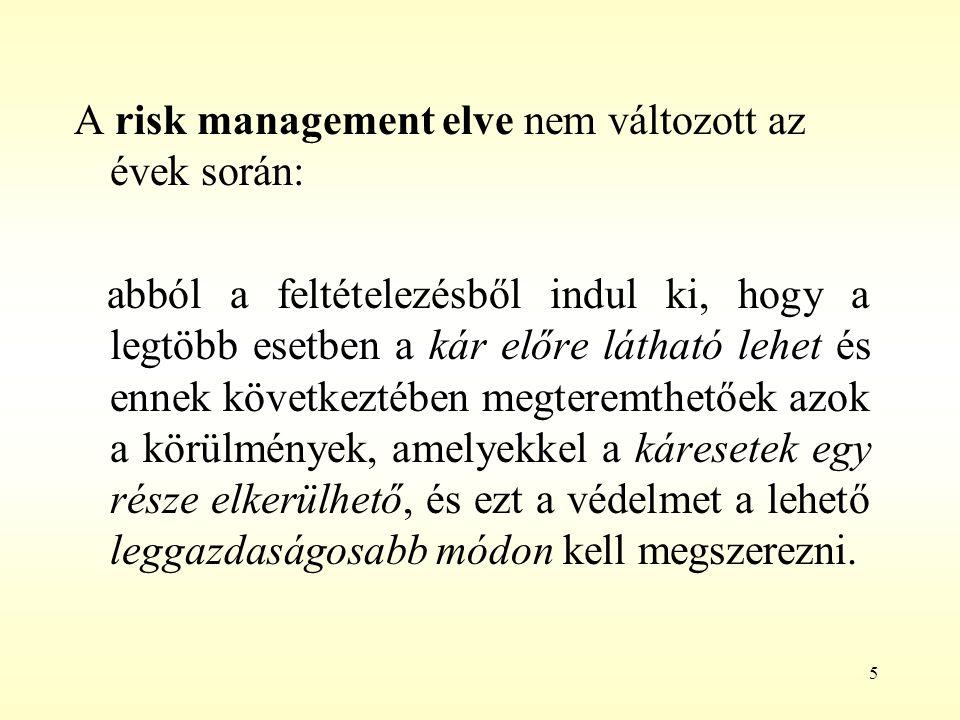 5 A risk management elve nem változott az évek során: abból a feltételezésből indul ki, hogy a legtöbb esetben a kár előre látható lehet és ennek köve