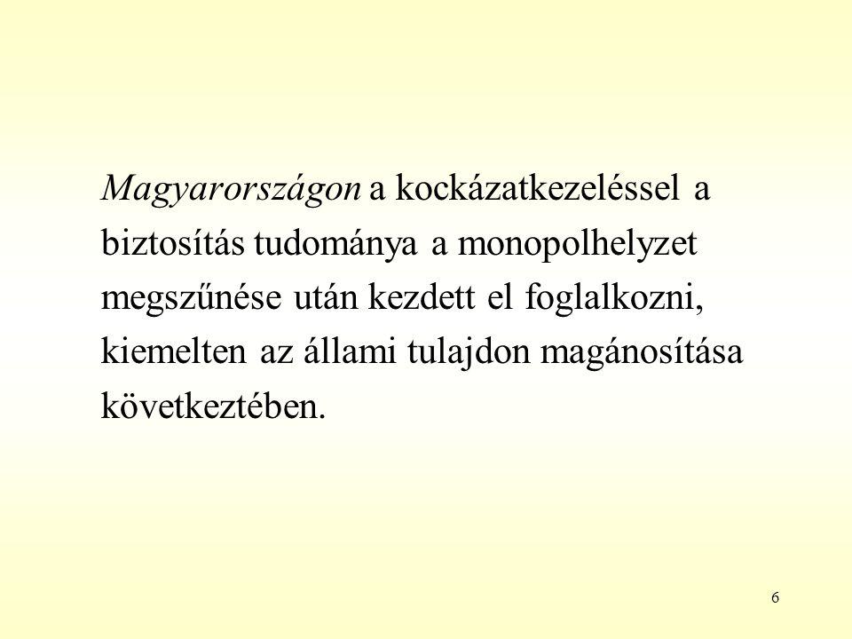 6 Magyarországon a kockázatkezeléssel a biztosítás tudománya a monopolhelyzet megszűnése után kezdett el foglalkozni, kiemelten az állami tulajdon mag