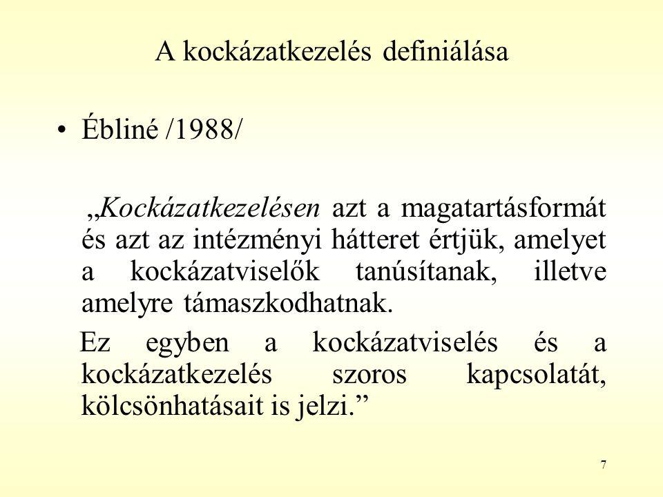 """7 A kockázatkezelés definiálása Ébliné /1988/ """"Kockázatkezelésen azt a magatartásformát és azt az intézményi hátteret értjük, amelyet a kockázatviselő"""