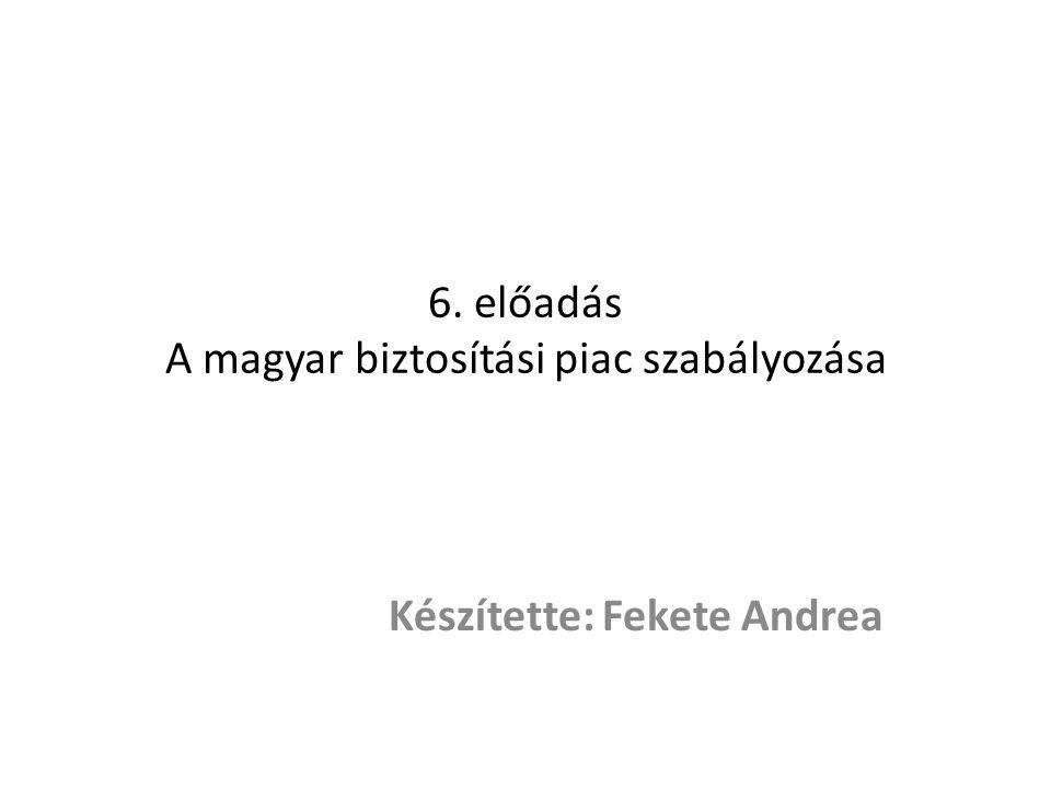 6. előadás A magyar biztosítási piac szabályozása Készítette: Fekete Andrea