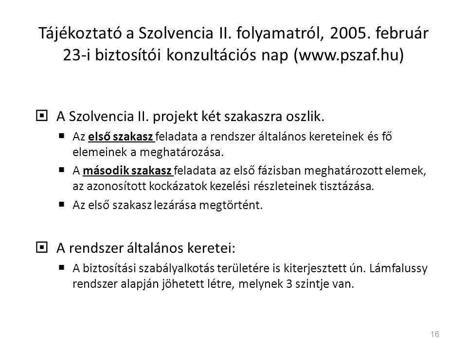 Tájékoztató a Szolvencia II. folyamatról, 2005. február 23-i biztosítói konzultációs nap (www.pszaf.hu)  A Szolvencia II. projekt két szakaszra oszli