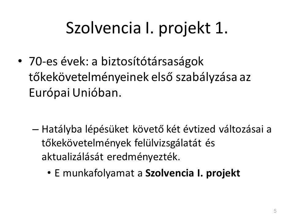 Szolvencia I. projekt 1. 70-es évek: a biztosítótársaságok tőkekövetelményeinek első szabályzása az Európai Unióban. – Hatályba lépésüket követő két é