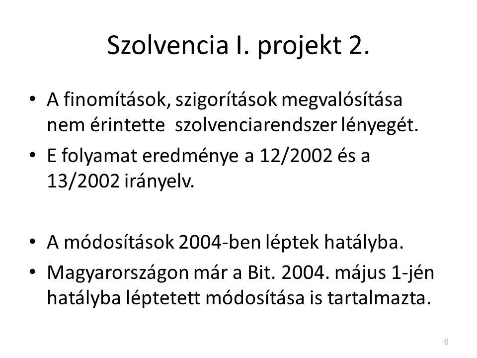Szolvencia I. projekt 2. A finomítások, szigorítások megvalósítása nem érintette szolvenciarendszer lényegét. E folyamat eredménye a 12/2002 és a 13/2