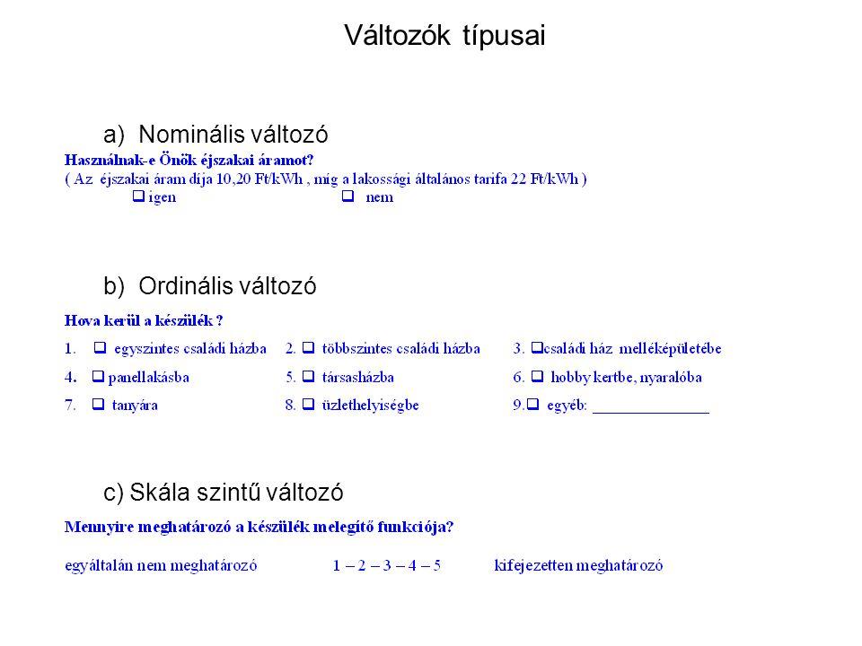a) Nominális változó b) Ordinális változó c) Skála szintű változó
