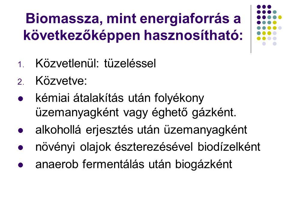 Biomassza, mint energiaforrás a következőképpen hasznosítható: 1. Közvetlenül: tüzeléssel 2. Közvetve: kémiai átalakítás után folyékony üzemanyagként