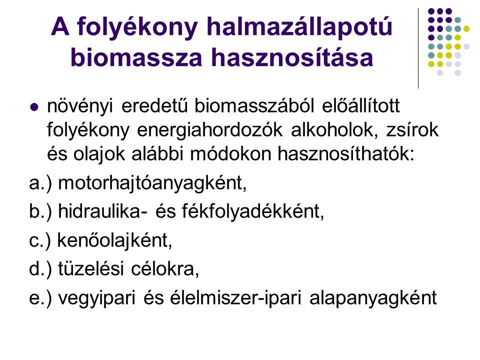 A folyékony halmazállapotú biomassza hasznosítása növényi eredetű biomasszából előállított folyékony energiahordozók alkoholok, zsírok és olajok alább