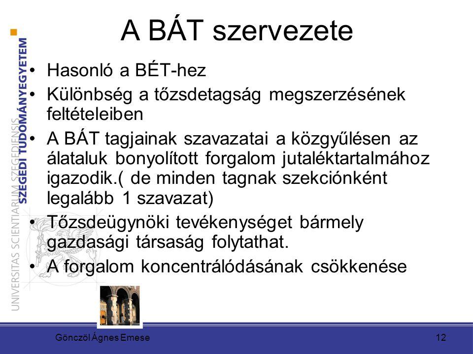 Gönczöl Ágnes Emese13 BÁT és BÉT egyesülése Hosszas folyamatok eredményeként Budapesti Áru – és Értéktőzsde (mint a kezdetekkor) 2005.