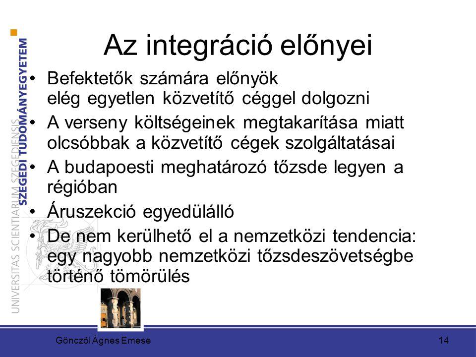 Gönczöl Ágnes Emese14 Az integráció előnyei Befektetők számára előnyök elég egyetlen közvetítő céggel dolgozni A verseny költségeinek megtakarítása mi