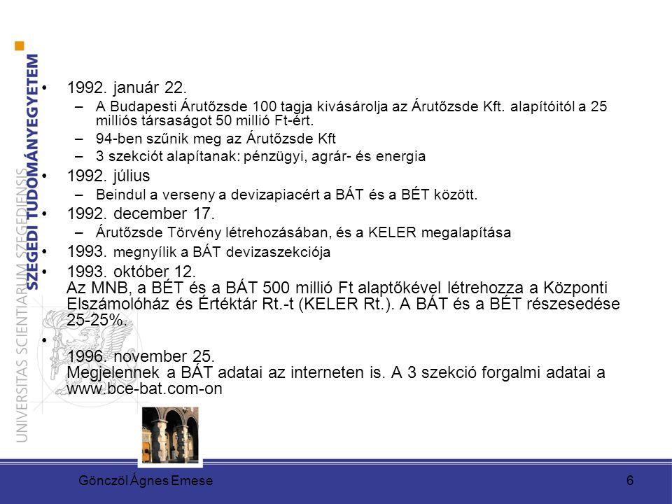 Gönczöl Ágnes Emese6 1992. január 22. –A Budapesti Árutőzsde 100 tagja kivásárolja az Árutőzsde Kft. alapítóitól a 25 milliós társaságot 50 millió Ft-