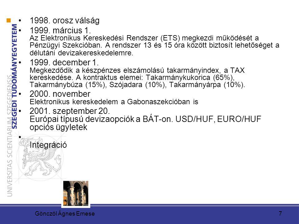 Gönczöl Ágnes Emese7 1998. orosz válság 1999. március 1. Az Elektronikus Kereskedési Rendszer (ETS) megkezdi működését a Pénzügyi Szekcióban. A rendsz