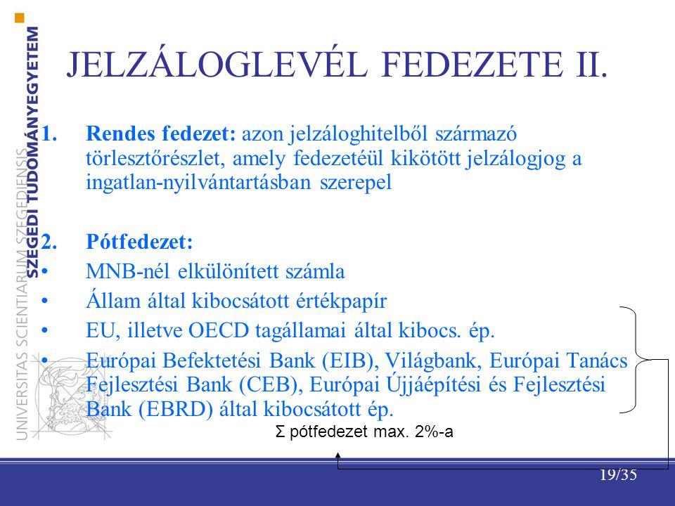19/35 JELZÁLOGLEVÉL FEDEZETE II.