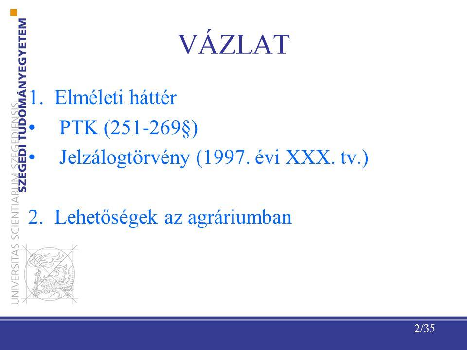 2/35 VÁZLAT 1.Elméleti háttér PTK (251-269§) Jelzálogtörvény (1997.