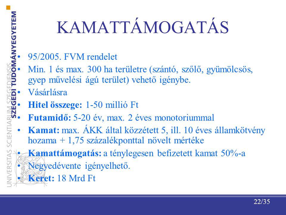 22/35 KAMATTÁMOGATÁS 95/2005.FVM rendelet Min. 1 és max.