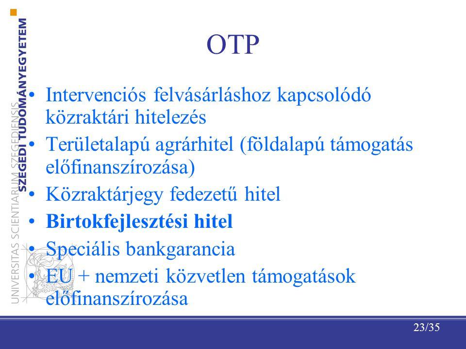 23/35 OTP Intervenciós felvásárláshoz kapcsolódó közraktári hitelezés Területalapú agrárhitel (földalapú támogatás előfinanszírozása) Közraktárjegy fedezetű hitel Birtokfejlesztési hitel Speciális bankgarancia EU + nemzeti közvetlen támogatások előfinanszírozása